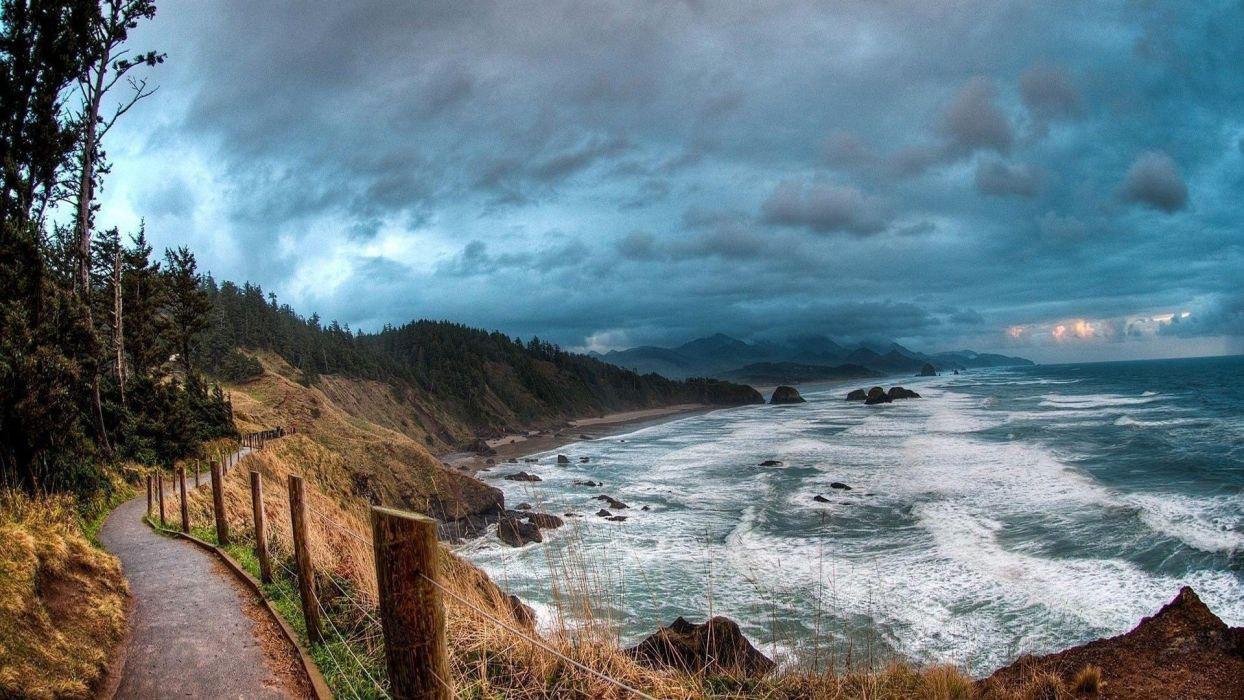 clouds fence landscape path road sea Trees waves wallpaper