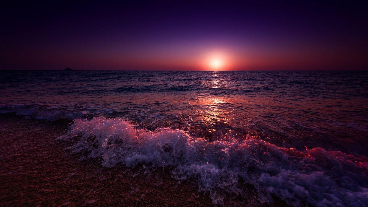 landscape sea beach sunset wallpaper