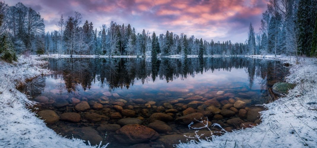 nature lake rock forest winter snow wallpaper