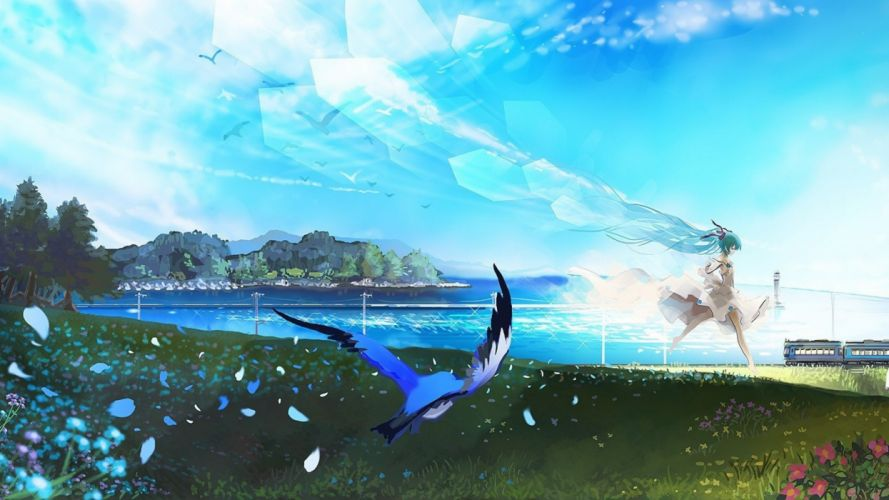 birds flowers Hatsune Miku Running sea Train vocaloid wallpaper