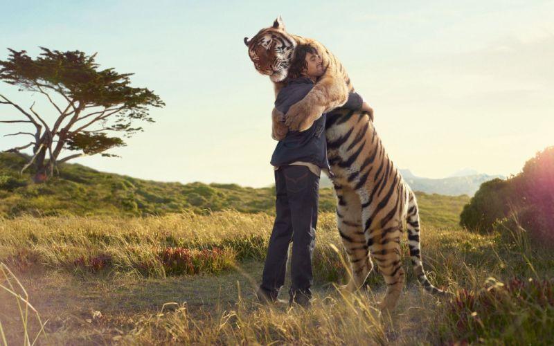 animals men sunlight Tiger wallpaper