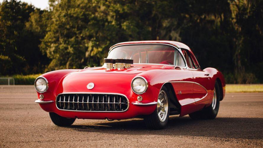 1956 CHEVROLET CORVETTE (c1) CONVERTIBLE cars red 454 wallpaper