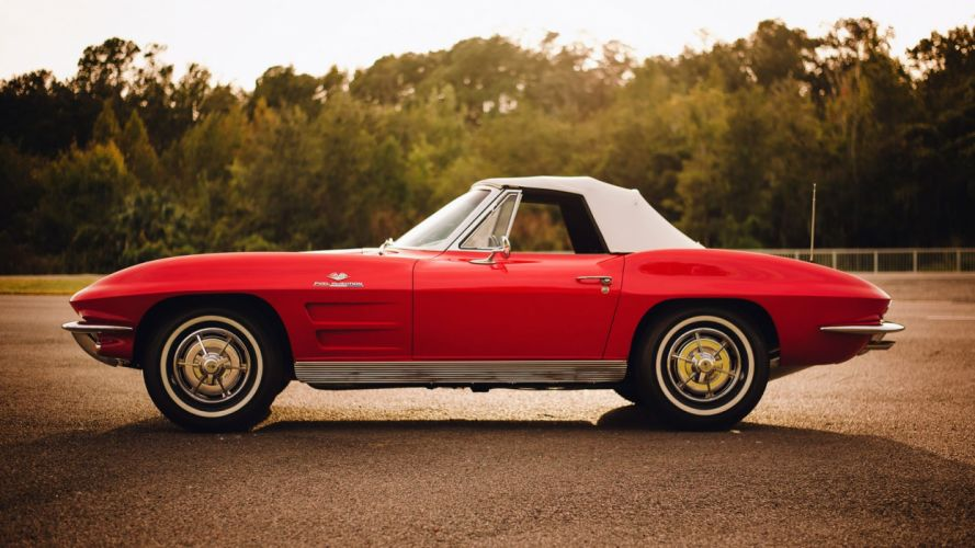 1963 CHEVROLET CORVETTE (c2) CONVERTIBLE cars red 327 wallpaper