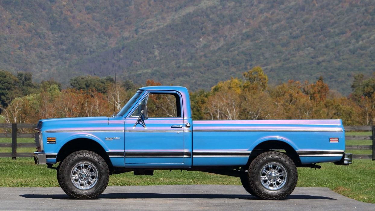 1972 CHEVROLET K20 DELUXE PICKUP truck blue wallpaper