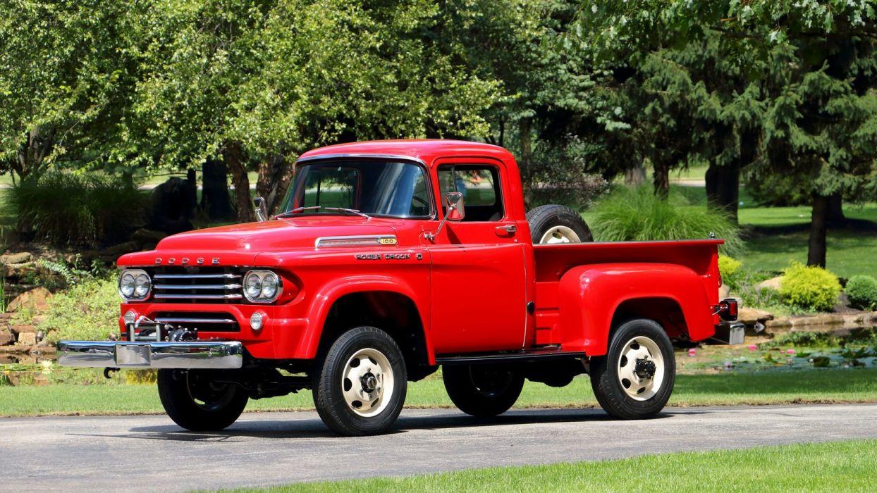 1958 Dodge Power Wagon W100 Pickup truck red wallpaper