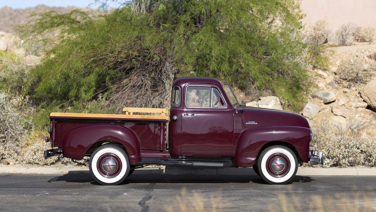 1953 CHEVROLET 3100 5-WINDOW PICKUP truck Burgundy wallpaper