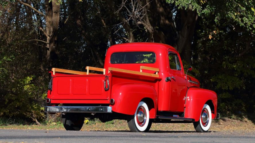 1951 FORD-F1 PICKUP truck red wallpaper