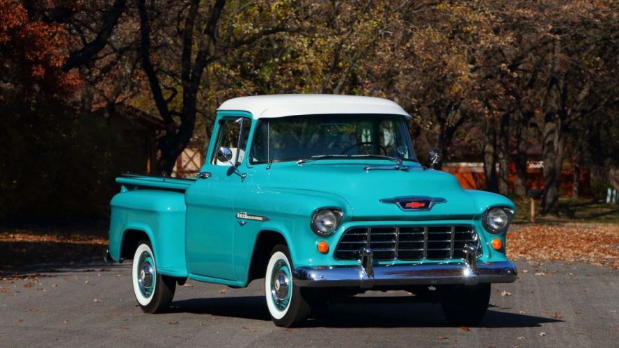 1955 CHEVROLET 3100 PICKUP truck blue wallpaper