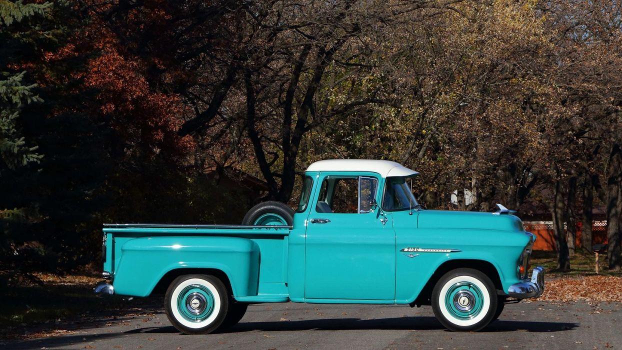 1955 CHEVROLET 3100 PICKUP truck blue wallpaper