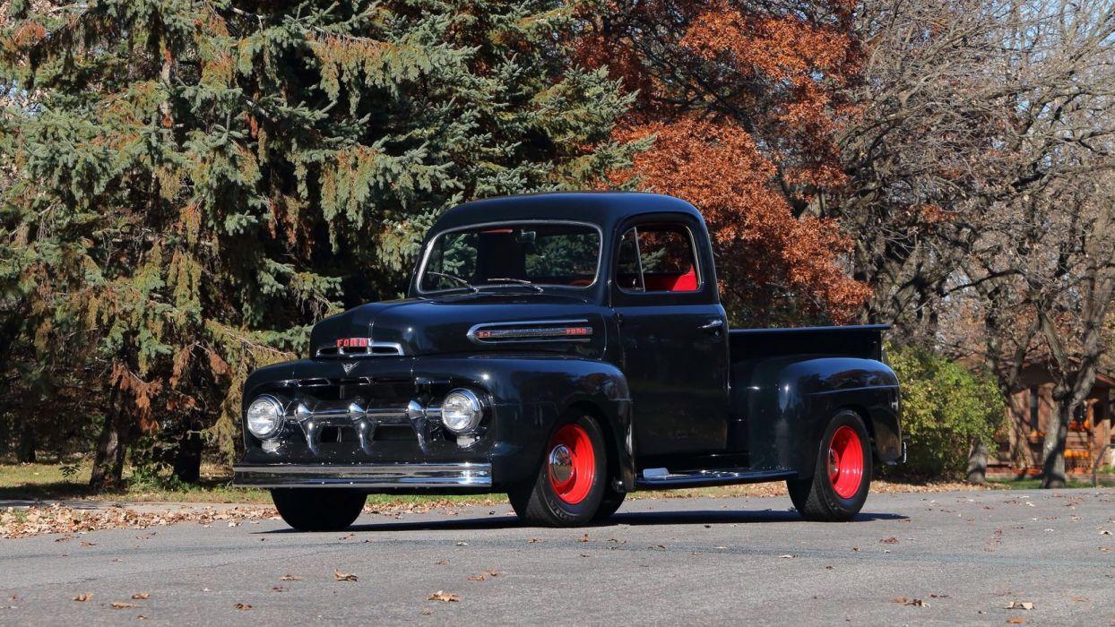 1951 FORD-F1 PICKUP truck black wallpaper