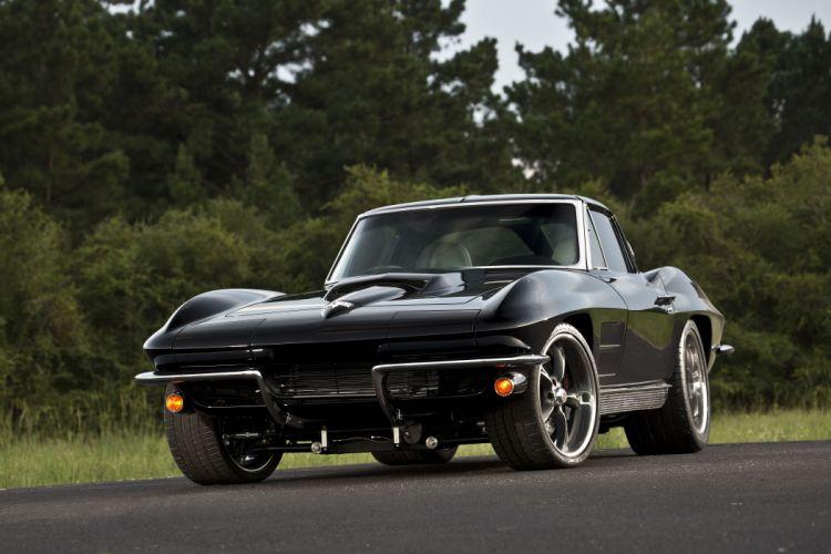 1963 Corvette Sting Ray (c2) Split-Window cars black wallpaper
