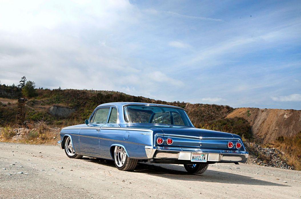 1962 Chevy Bel Air cars blue resto-mod wallpaper