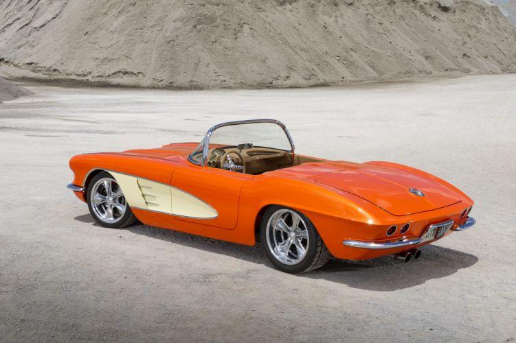 1961 chevy Corvette (c1) cars convertible orange wallpaper