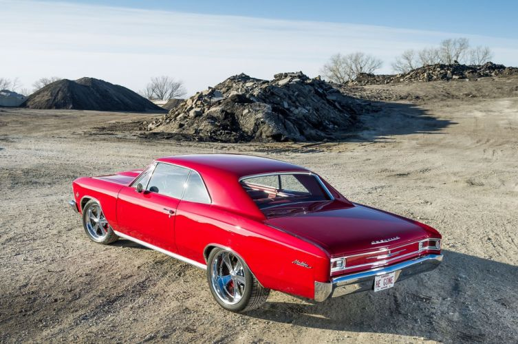 Big-block 1966 Chevelle chevy Street Machine cars red wallpaper