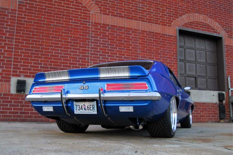 1969 Chevrolet Camaro cars blue custom wallpaper