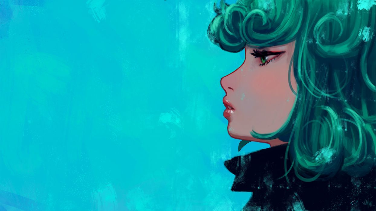 Anime Girls Green Eyes Green Hair One Punch Man Tatsumaki