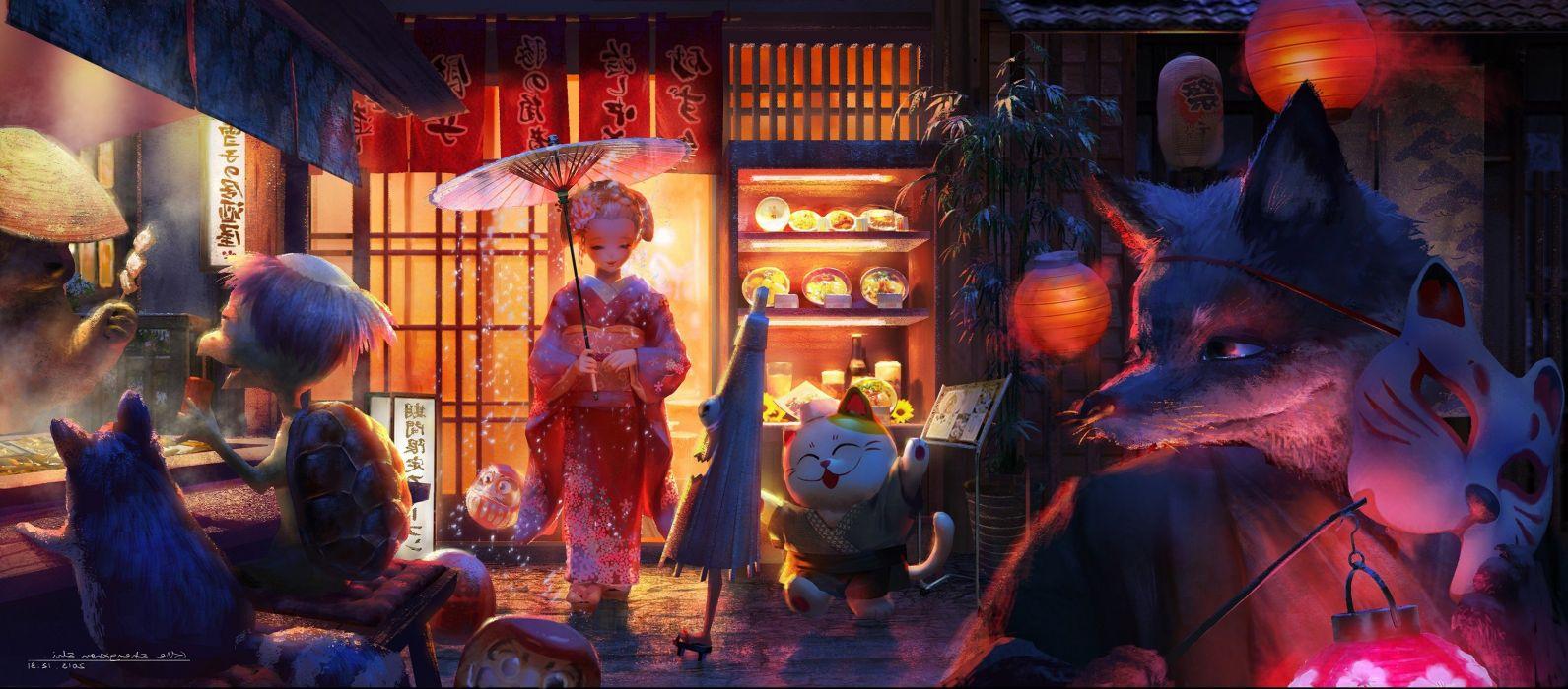 animals food Fox kimono Lantern mask Original Characters turtle umbrella wallpaper