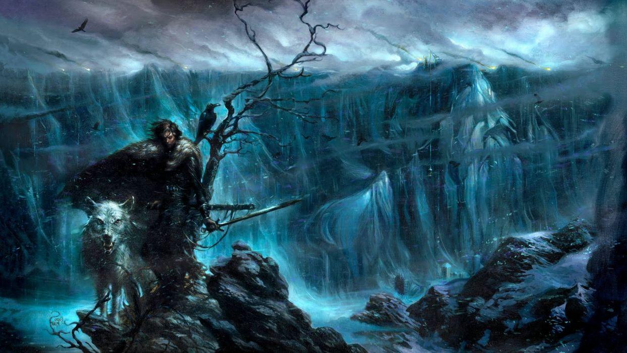 artwork Direwolves fantasy Art Game Of Thrones Jon Snow Nights Watch snow The Wall wallpaper