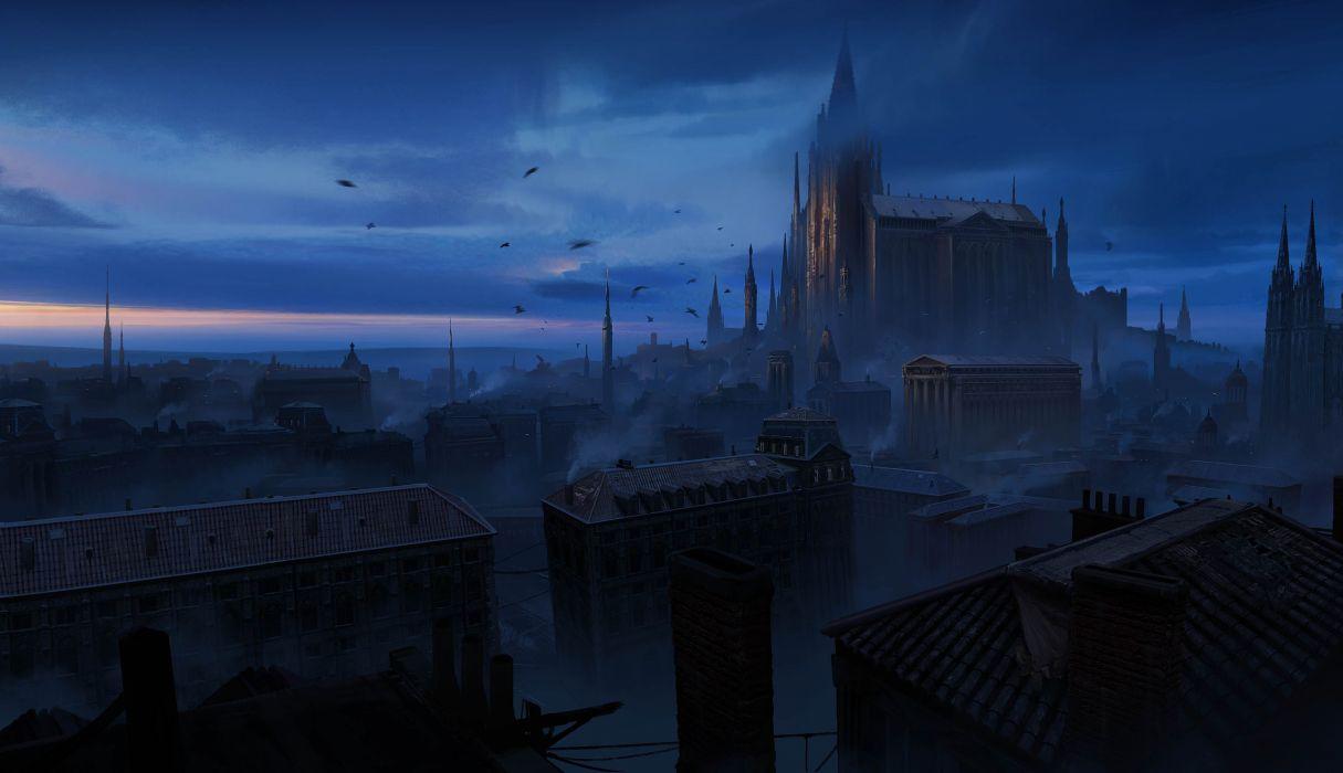 Fantasy Art Artwork Digital Art Dark Birds Building Clouds