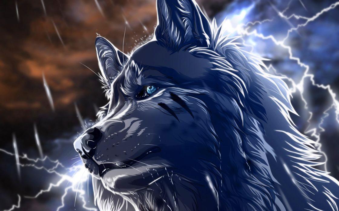 anime wolf fantasy animal wallpaper