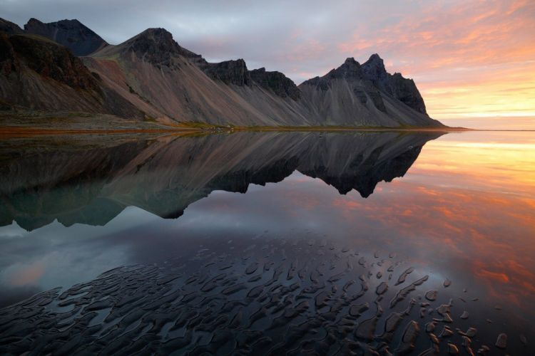 mountains skysand sea reflection sunset nature wallpaper