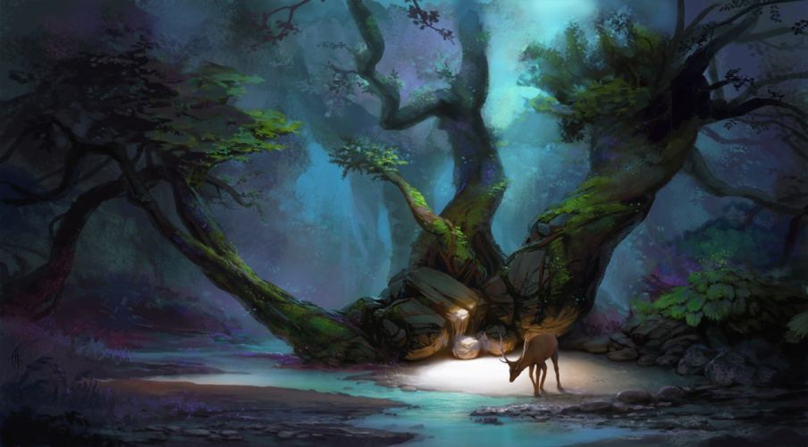 science fiction pixelated fantasy art artwork digital art abstract deer trees fall dark wallpaper