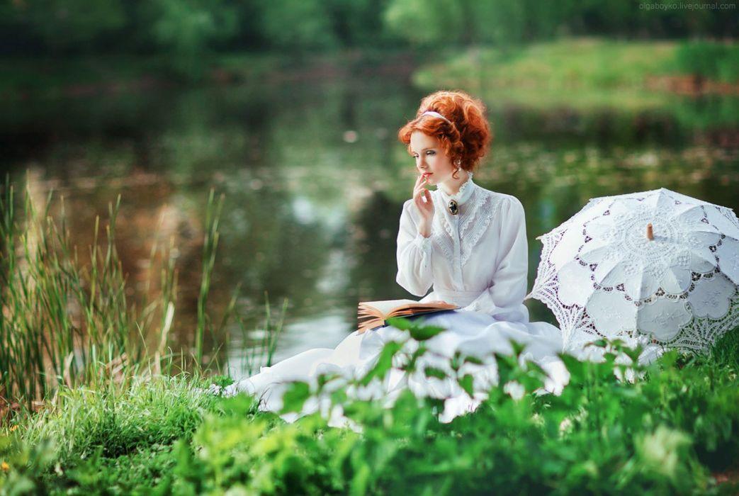 woman model portrait redhead eyeliner pond umbrella wallpaper