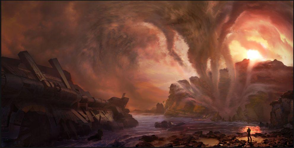 fantasy art concept art artwork spaceship cloud stocks wallpaper