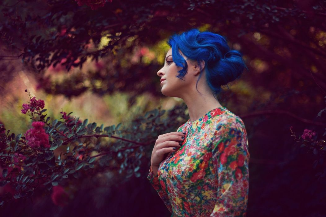 portrait woman outdoors blue hair leaves trees flowers dress plants wallpaper