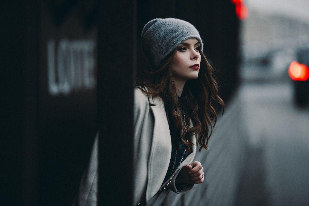 woman model portrait looking away brunette red lipstick coats wallpaper