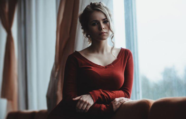 women model portrait looking at viewer red dress couch brunette blonde wallpaper