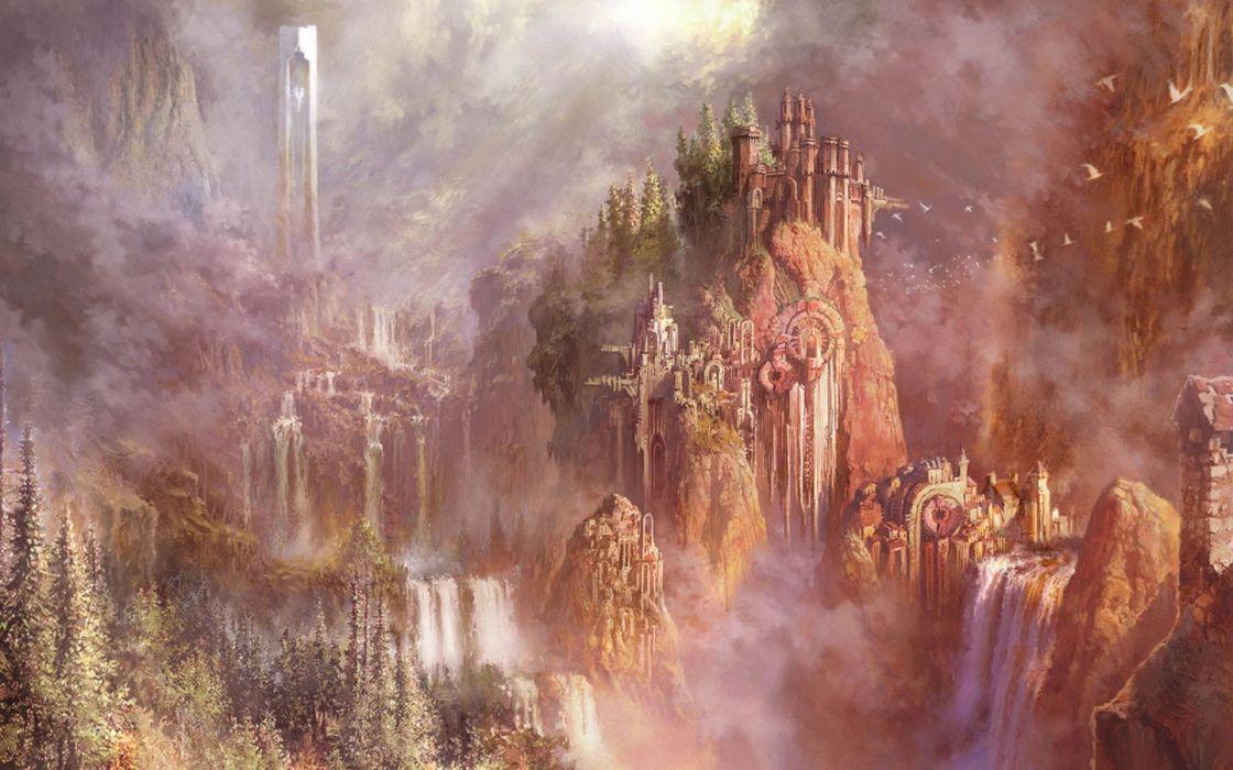 waterfall fantasy  wallpaper