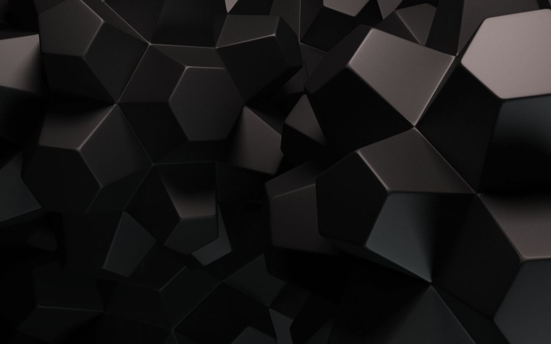 3D abstract black dark geometry wallpaper