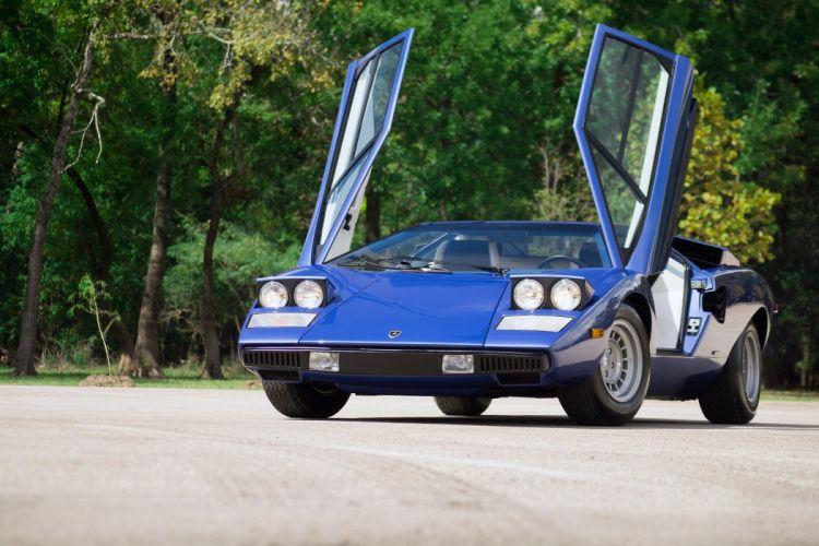 Lamborghini Countach LP400 cars supercars blue 1974 wallpaper