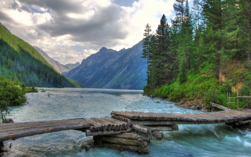 rio naturaleza puente madera bosque wallpaper