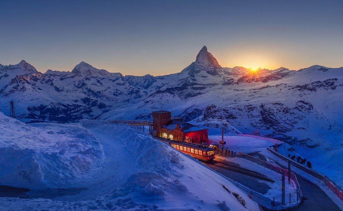 landscape Lights Matterhorn mountain nature road snow sunset Switzerland Train wallpaper