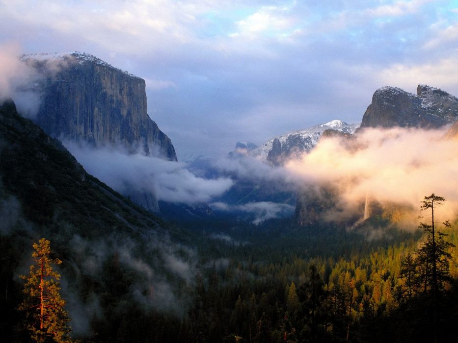 cliff clouds mountain Trees Yosemite National Park wallpaper
