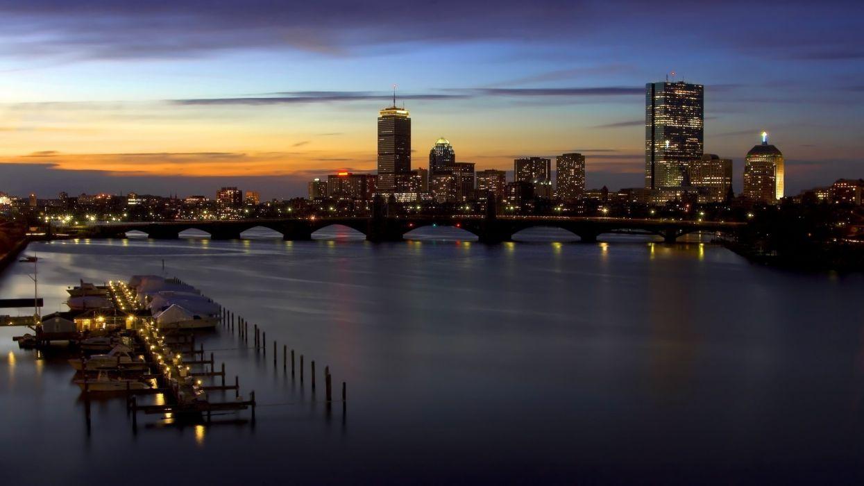 building Cityscape river sunset wallpaper