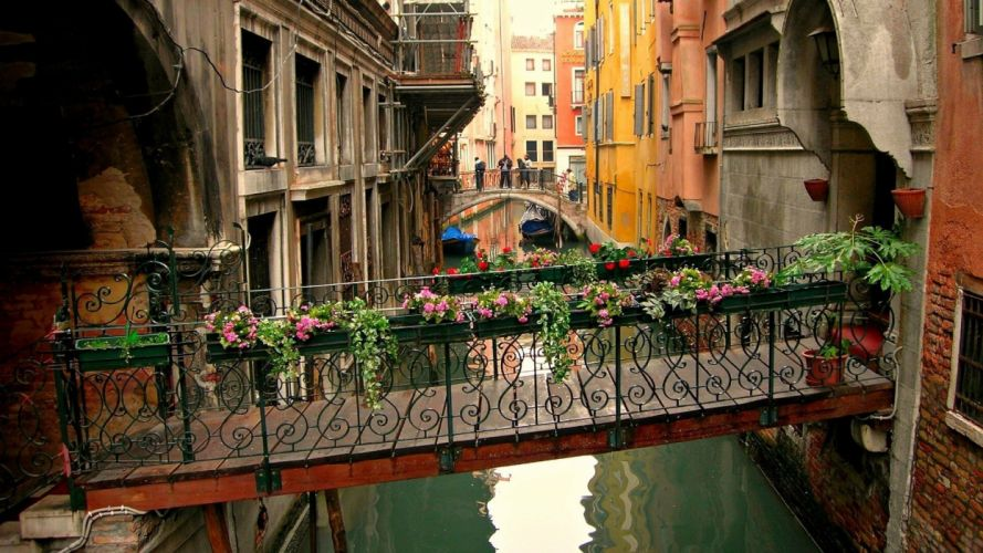 architecture boat bridge building Canal Cityscape flowers house Italy reflection town Venice water wallpaper