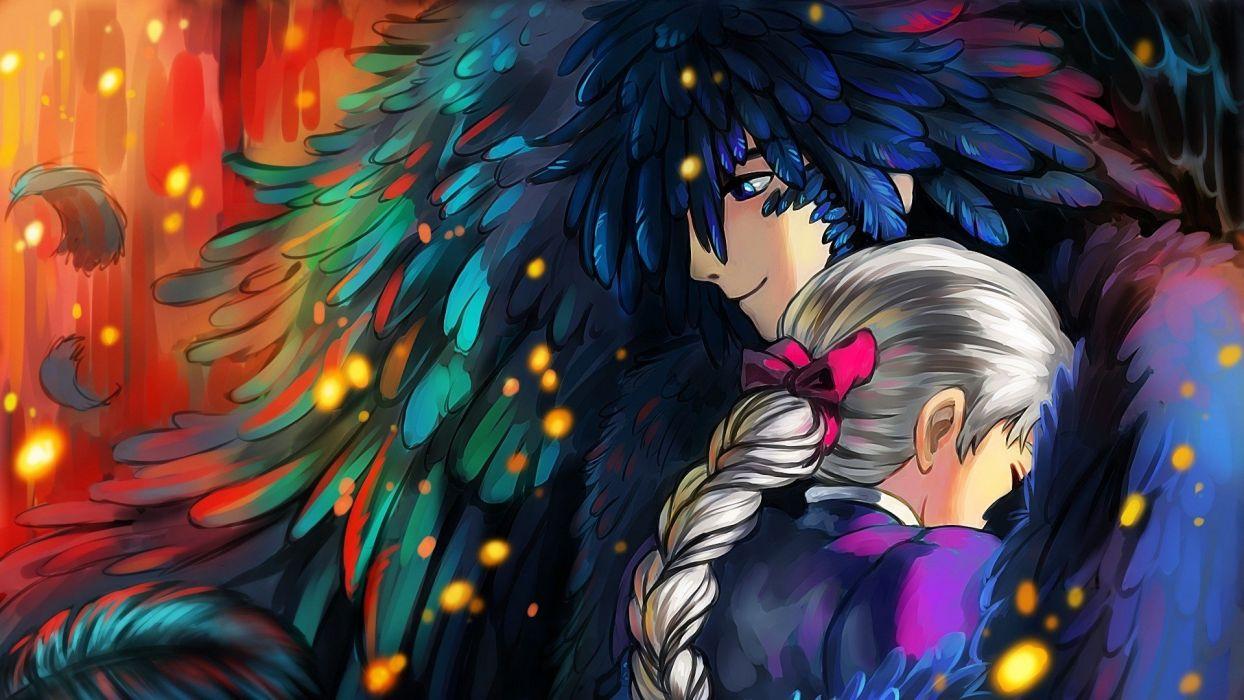 digital art anime couple girl male wallpaper