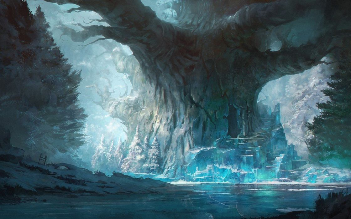 blue Concept Art digital art ice Trees wallpaper