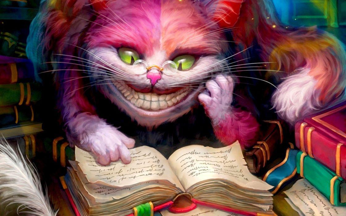 Alice In Wonderland artwork books Cheshire Cat smiling wallpaper