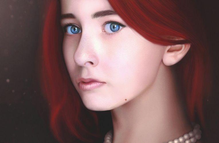 artwork cgi digital art redhead render women wallpaper