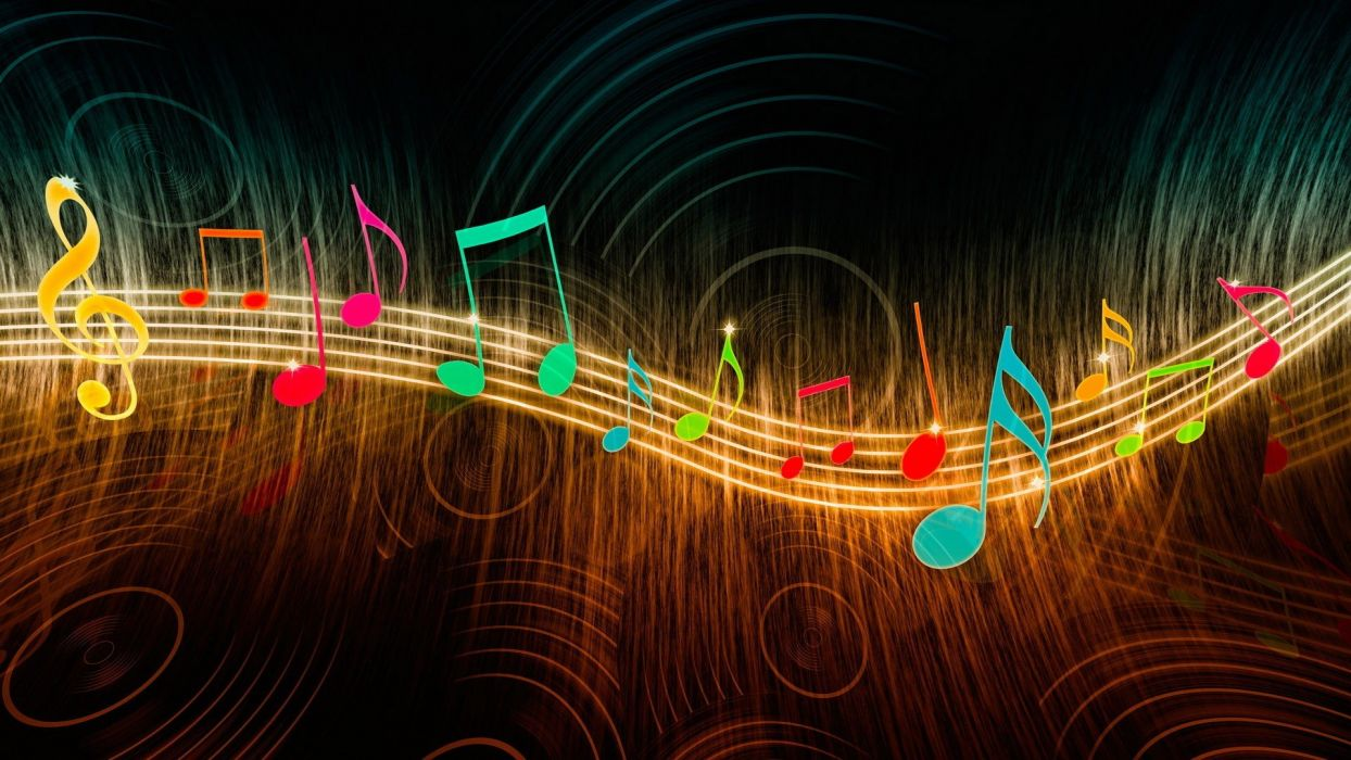 Circles Colorful digital art Glowing music Musical Notes Treble Clef Wavy Lines wallpaper