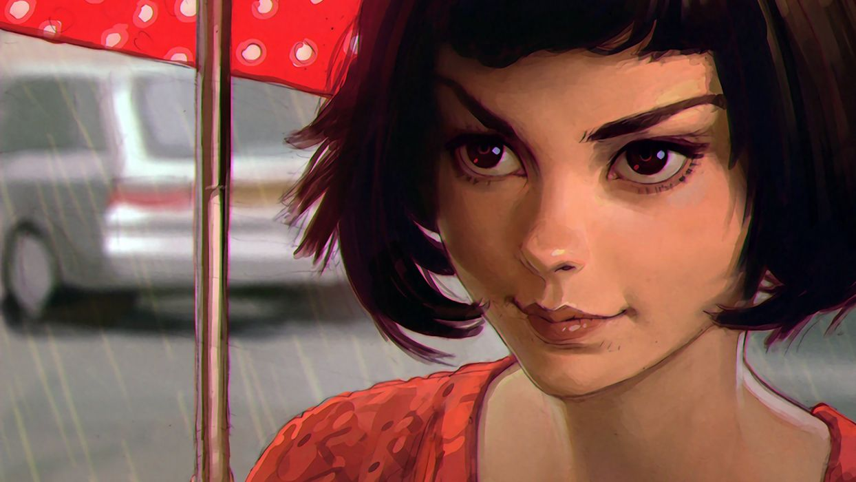artwork brunette car digital art drawing face Ilya Kuvshinov portrait rain Short Hair umbrella wallpaper
