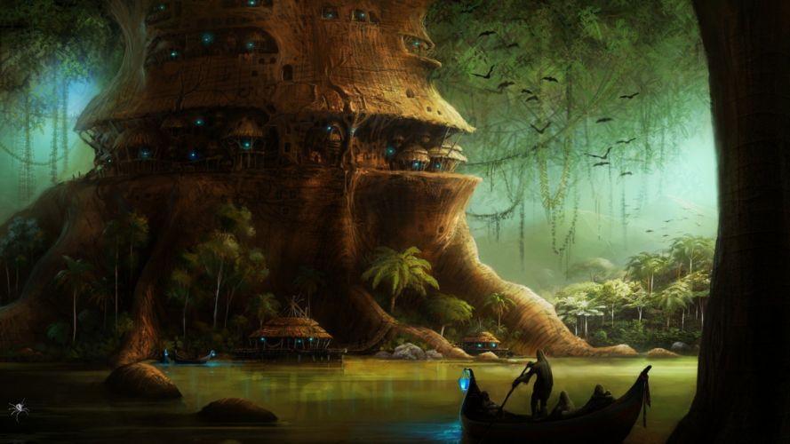artwork birds boat Dark digital art fantasy Art forest house Lights Pixelated plants river wallpaper