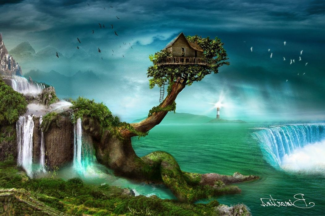 artwork birds digital art Fall fantasy Art house Lighthouse mountains open clothes Pixelated s wallpaper