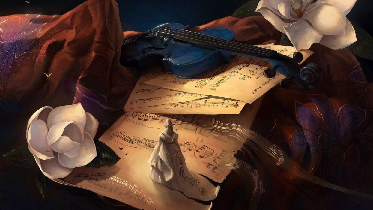 artwork digital art flowers Musical Instrument Musical Notes Violin wallpaper