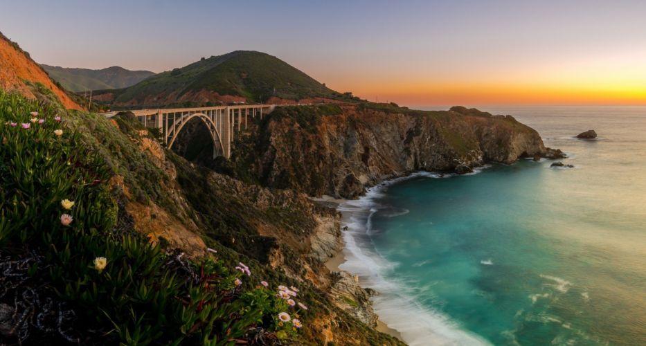 beach bridge california cliff Coast Hills landscape nature photography sea sunset Wildflowers wallpaper