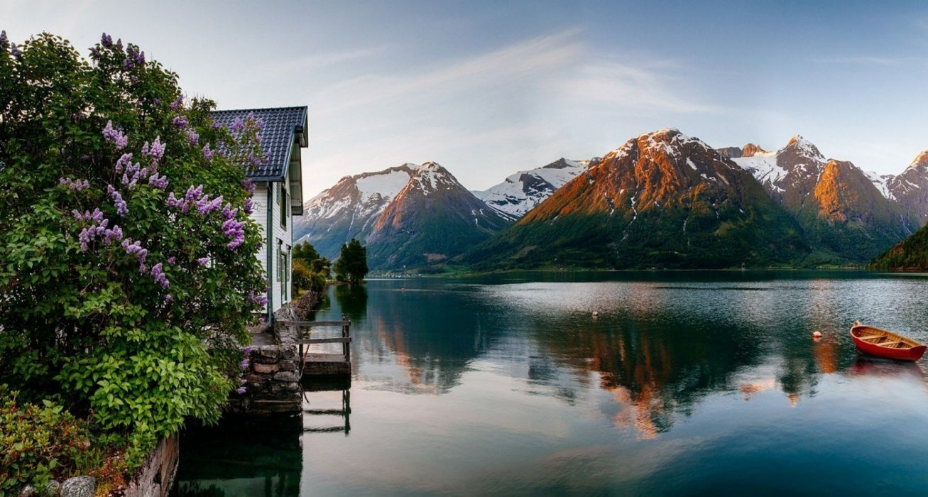 boat Fjord flowers house landscape mountain nature Norway reflection sea Snowy Peak wallpaper